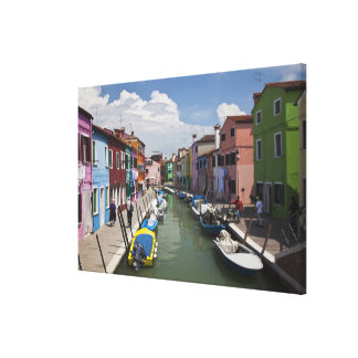 Colorful homes along canal on the island of stretched canvas print