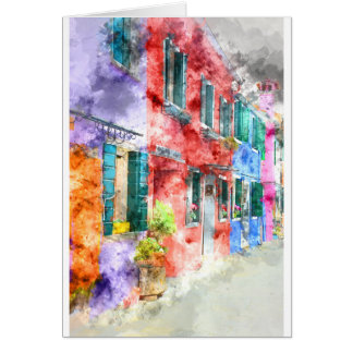 Colorful Homes in Burano Italy near Venice Card