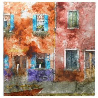 Colorful Homes in Burano Italy near Venice Napkin