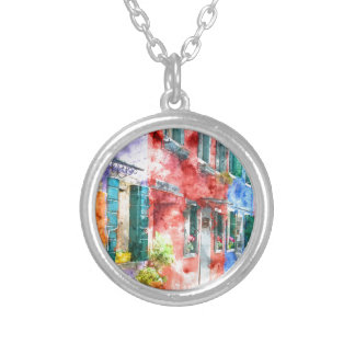 Colorful Homes in Burano Italy near Venice Silver Plated Necklace