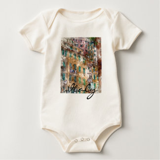 Colorful Homes in Cinque Terre Italy Baby Bodysuit