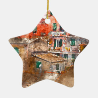 Colorful Homes in Cinque Terre Italy Ceramic Ornament