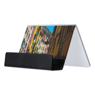 Colorful Homes in Cinque Terre Italy Desk Business Card Holder