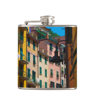 Colorful Homes in Cinque Terre Italy Hip Flask