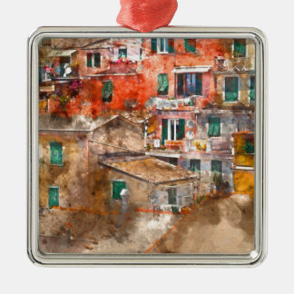 Colorful Homes in Cinque Terre Italy Metal Ornament