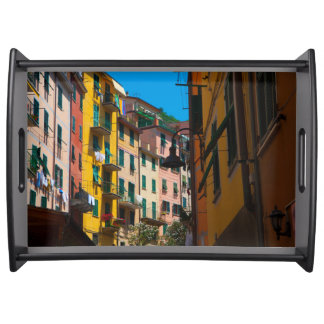 Colorful Homes in Cinque Terre Italy Serving Tray