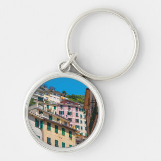 Colorful Homes in Cinque Terre Italy Silver-Colored Round Key Ring