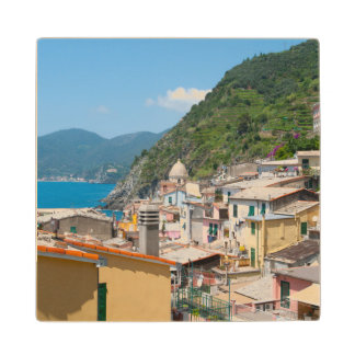 Colorful Homes in Cinque Terre Italy Wood Coaster