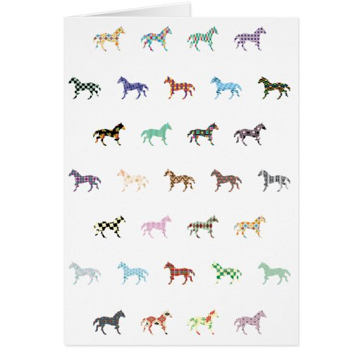 Colorful Horses Lantern Pattern Greeting Cards