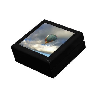 Colorful Hot Air Balloon in the Cloudy Sky Small Square Gift Box