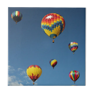 Colorful Hot Air Balloons in the Sky Tile