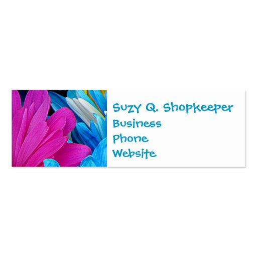 Colorful Hot Pink Teal Blue Gerber Daisies Flowers Business Card Template