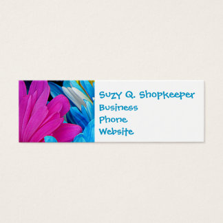 Colorful Hot Pink Teal Blue Gerber Daisies Flowers Mini Business Card