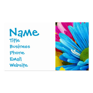 Colorful Hot Pink Teal Blue Gerber Daisies Flowers Pack Of Standard Business Cards