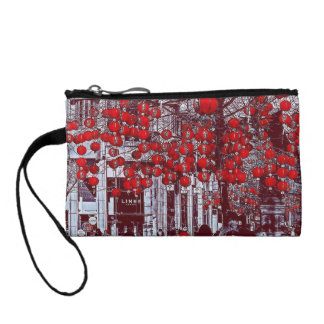 Colorful Hot Red Vintage Tree Key Coin Clutch Change Purse