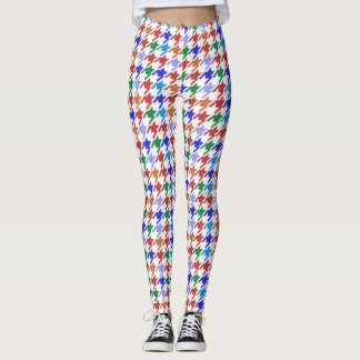 colorful houndstooth pattern leggings