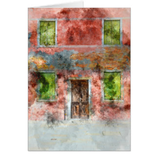 colorful house in Burano island Venice Italy Card