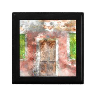colorful house in Burano island Venice Italy Small Square Gift Box