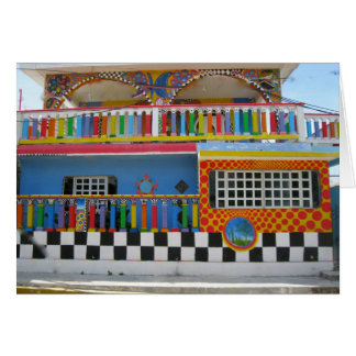 Colorful House on Isla Mujeres, Mexico Card