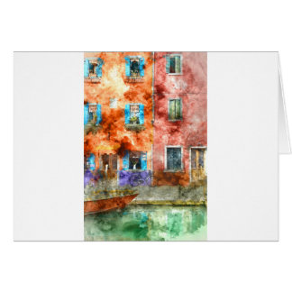 Colorful houses in Burano island, Venice Card