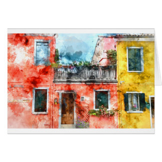 Colorful houses in Burano island Venice Italy Card