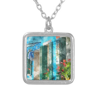 Colorful houses in Burano island Venice Italy Silver Plated Necklace