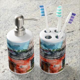 Colorful houses in Burano island Venice Italy Toothbrush Holder