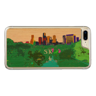 Colorful Houston Downtown Skyline Monogram Carved iPhone 8 Plus/7 Plus Case