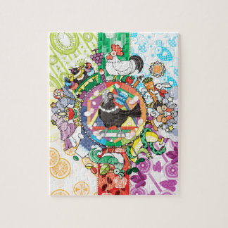 Colorful hue circle gradation and black and white jigsaw puzzle