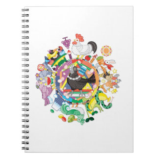 Colorful hue circle gradation and black and white notebook