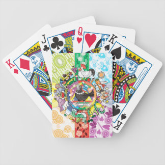 Colorful hue circle gradation and black and white poker deck