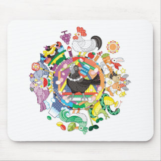 colorful hue circle gradation with black and white mouse pad