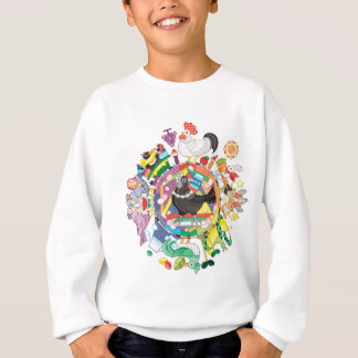 colorful hue circle gradation with black and white sweatshirt