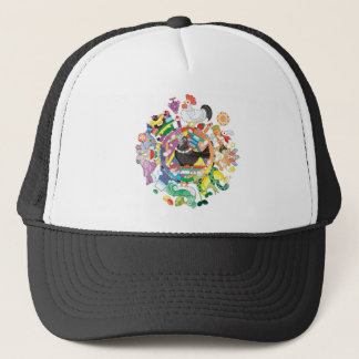 colorful hue circle gradation with black and white trucker hat