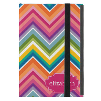 Colorful Huge Chevron Pattern with name Cover For iPad Mini