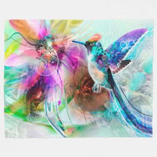 Colorful Hummingbird Fleece Blanket