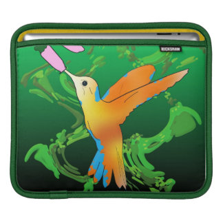 Colorful hummingbird kisses a flower, green waves iPad sleeve