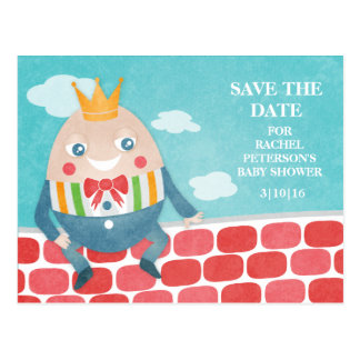 Colorful Humpty Dumpty Baby Shower Save the Date Postcard