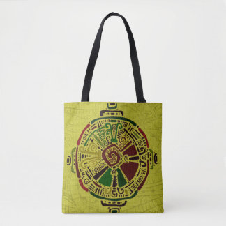 Colorful Hunab Ku Mayan symbol on cotton Tote Bag
