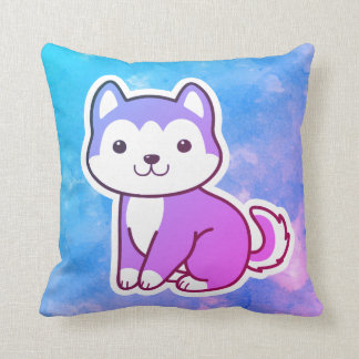 Colorful Husky Puppy Dog Throw Pillow