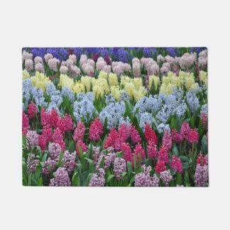 Colorful hyacinth flowers doormat