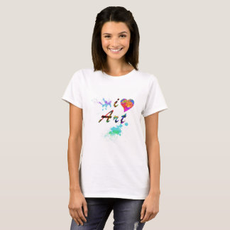 Colorful I Love Art Paint Splatter Shirt