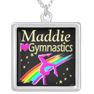 COLORFUL I LOVE GYMNASTICS PERSONALIZED NECKLACE