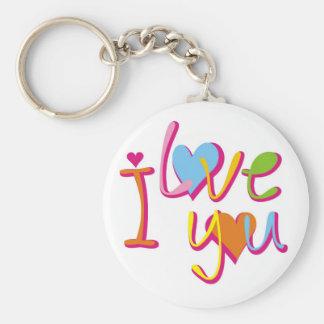 Colorful I Love You Hearts Budget Key Chain