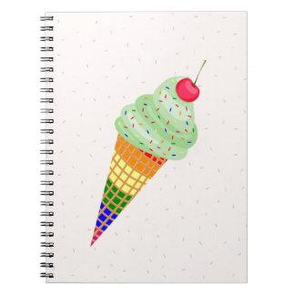 Colorful Ice Cream Cone Design Notebooks