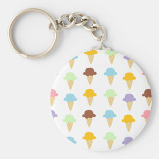Colorful Ice Cream Cones Basic Round Button Key Ring