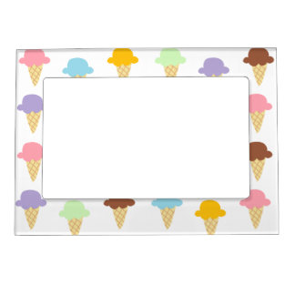 Colorful Ice Cream Cones Magnetic Picture Frame