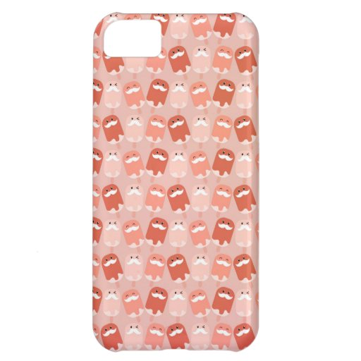 Colorful Ice Cream with Mustaches Case For iPhone 5C