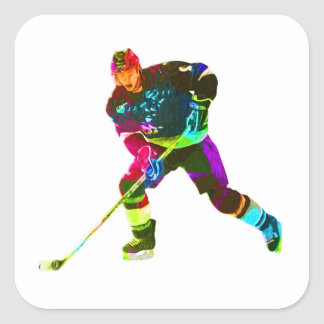 Colorful ice hockey player square sticker