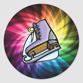 Colorful Ice Skate Classic Round Sticker